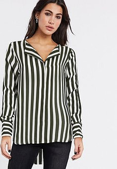 Selected tina stripe long sleeve shirt in dark green-Navy
