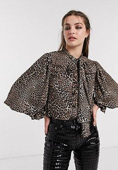 sister jane blouse with cameo brooch and volume sleeves in leopard print-Brown
