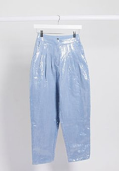 sister jane cigarette trousers in sequin co-ord-Blue
