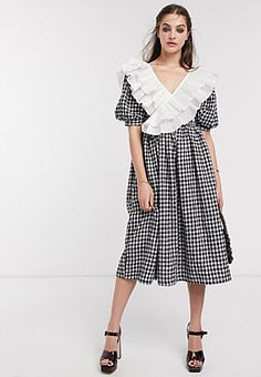 sister jane midi dress with puff sleeves and ruffle trim in houndstooth-Black