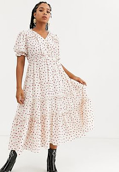 sister jane midi tea dress with faux pearl buttons and ruffles in ditsy heart print-White
