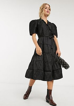 sister jane midi wrap dress with tiered skirt in floral jacquard-Black