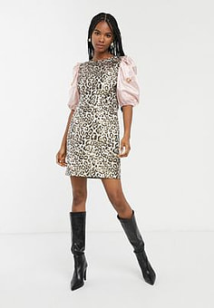 sister jane mini dress in leopard with embellished puff sleeves-Multi