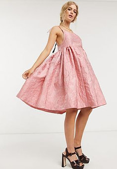 sister jane mini prom dress with tie straps in rose jacquard-Pink