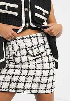 sister jane mini skirt with faux pearl buttons in ivory tweed co-ord-White
