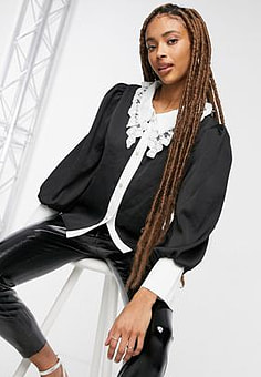 sister jane relaxed blouse with embellished contract collar in black