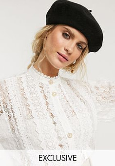 sister jane shirt with ornate buttons in vintage lace-White