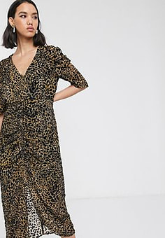 Soaked in Luxury flocked leopard print midi dress-Multi