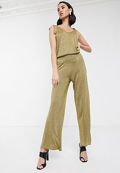 Soaked in Luxury knitted metallic co-ord trousers-Gold