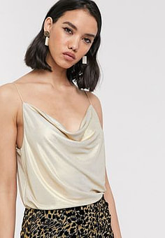 Soaked in Luxury metallic cowl neck cami-Gold