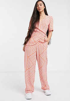 Soaked in Luxury mismatch stripe coord trousers-Pink