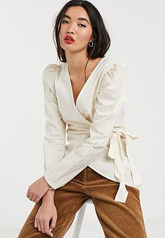 Soaked in Luxury puff sleeve wrap blouse-White