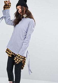 STYLENANDA  Long Sleeve Top With Tie Up Sleeves-Blue