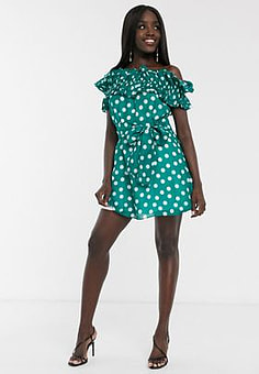 Talulah all my days ruffle polka dot off shoulder mini dress in green white spot