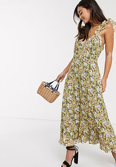 Talulah sunny days floral midi dress in summer breeze-Multi