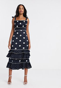 Talulah Whimsical tiered polka dot midi dress-Black