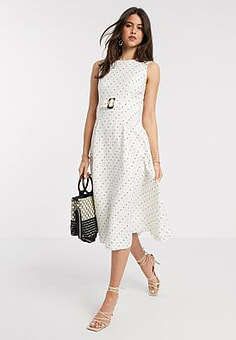 Ted Baker caryla a line belted spot midi dress in ivory-White