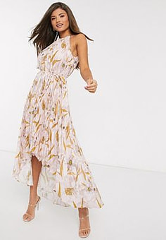 Ted Baker dixxie pleated floral midi dress in light pink