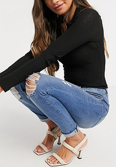 Ted Baker Kimmle distressed skinny jeans in blue