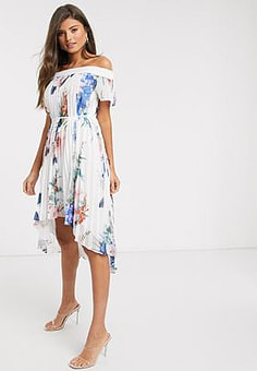 Ted Baker luner jamboree pleated off the shoulder maxi dress in white