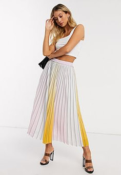 Ted Baker noviia ombre pleated midi skirt in yellow