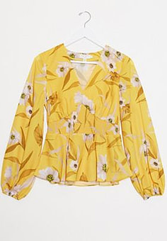 Ted Baker saniyah cabana smocked waist floral blouse in yellow