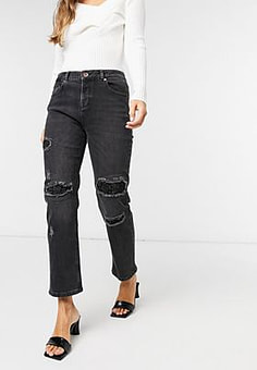 Ted Baker Sorenna distressed sequin detail mom jeans in black