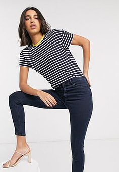 Ted Baker striped branded t-shirt-Blue