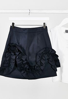 Ted Baker Suzanah ruffle detail mini skirt in navy