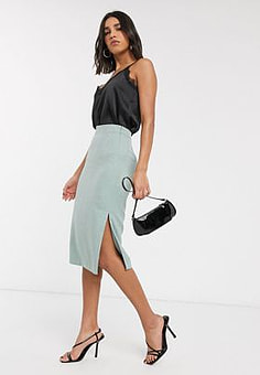 Ted Baker textured slit side midi skirt in mint-Green