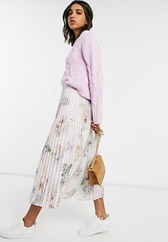 Ted Baker Woodland pleated midi skirt in pink