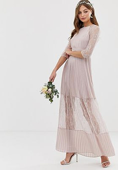 TFNC bridesmaid exclusive pleated maxi dress with lace insert in taupe-Brown