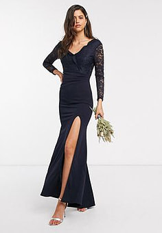 TFNC Bridesmaid lace detail maxi dress in navy