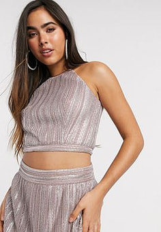 TFNC halterneck crop top in pink metallic