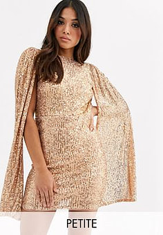 TFNC sequin mini dress with pleated sleeve drama in rose gold