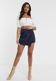TFNC pleat overlay mini skirt-Navy