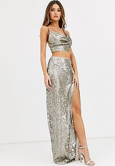 TFNC sequin maxi skirt with slit in silver and gold-Multi