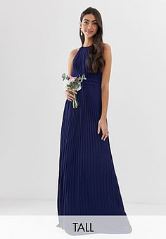 TFNC bridesmaid exclusive high neck pleated maxi dress in navy