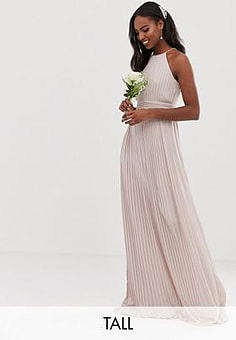 TFNC bridesmaid exclusive high neck pleated maxi dress in taupe-Brown
