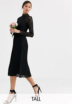 TFNC Bridesmaid high neck long sleeve pleated midi dress with lace inserts in black
