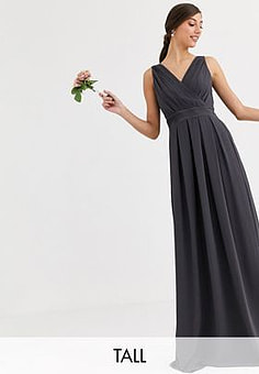 TFNC Bridesmaid maxi dress with bow back in grey