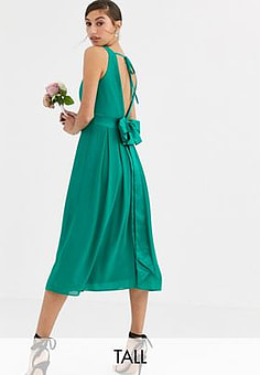 TFNC Bridesmaid midi dress with bow back in emerald green
