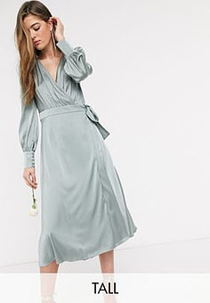 TFNC bridesmaids long sleeve wrap front sateen midi dress with belt in sage-Green
