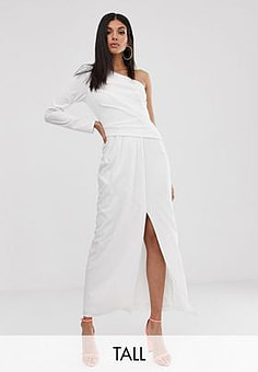TFNC one shoulder scuba maxi with thigh split in white