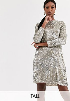 TFNC sequin mini swing dress in silver and gold-Multi