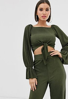 TFNC tie front crop top-Green