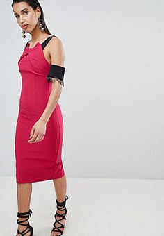8th Sign The Pencil Midi Dress With Lace Sleeve Detail-Pink