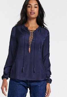 The Jetset Diaries Souks Lace Up Chest Blouse-Navy