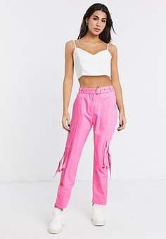 The Ragged Priest cargo pants with buckle pockets-Pink