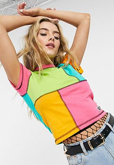 The Ragged Priest fitted crop t-shirt in patchwork-Multi